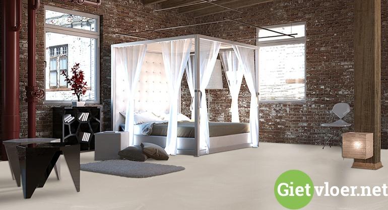 beton gietvloer in de slaapkamer